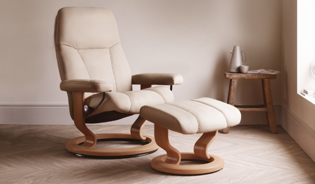 Chair & Stool in Cream Leather with Oak Base