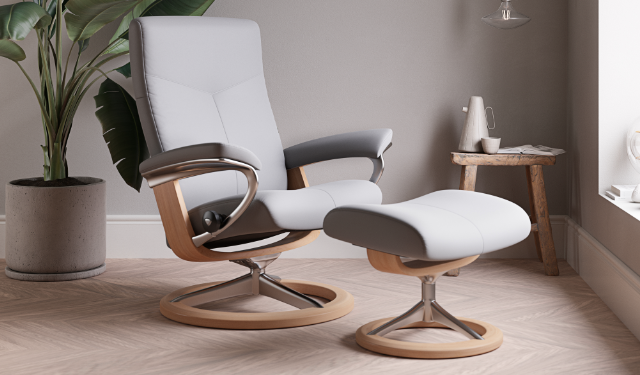 Chair & Stool in Wild Dove Leather With Oak Base