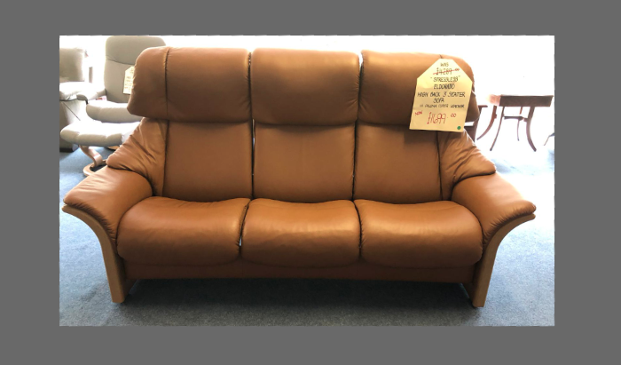 High Back 3 Seater in Paloma Copper Leather